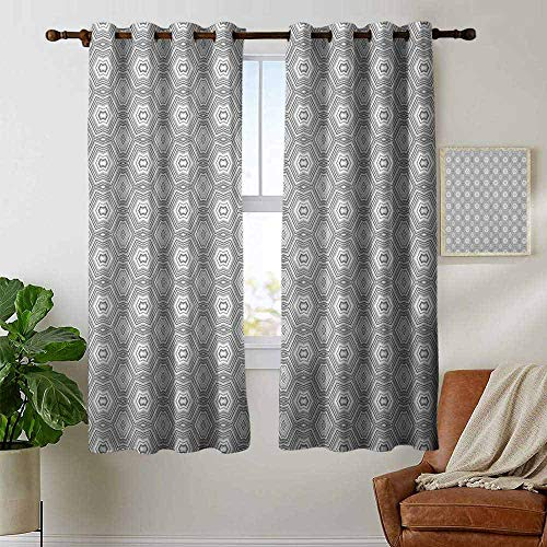Pattern Curtains Grey and White,Abstract Pattern with Lots of Angular Elements A Kaleidoscope of Forms, Grey and White,Living Room and Bedroom Multicolor Printed Curtain Sets 42