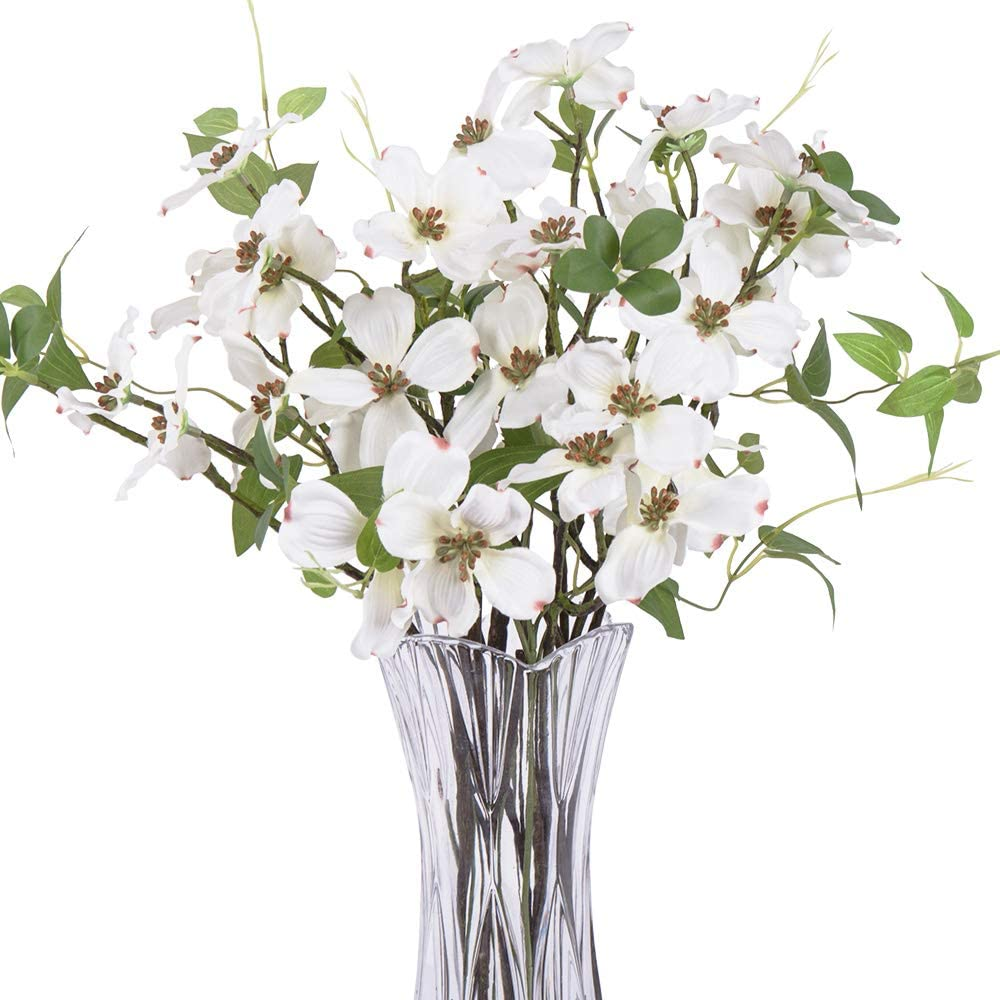 4Pcs Artificial Flowers, FENGRUIL 27.5 '' Silk Dogwood Flowers Bouquet for Home Office Party Wedding Decoration(White)