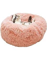 Luxury Shag Fuax Fur Donut Cuddler Round Donut Pet Bed Faux Fur Dog Beds for Medium Small Dogs - Self Warming Indoor Round Pillow Cuddler