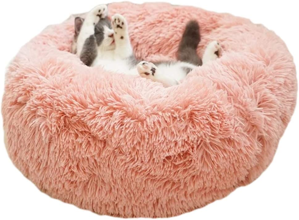 ALLNEO Original Cat and Dog Bed Luxury Shag Fuax Fur Donut Cuddler Round Donut Dog Beds Indoor Pillow Cuddler for Medium Small Dogs