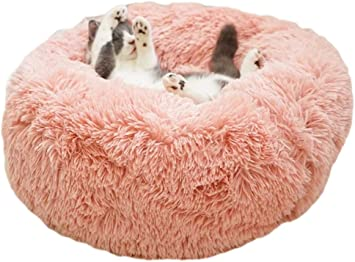 Pet Plush Bed Round Soft Donut Cushion Bed Best Friend for Dogs and Cats Self-Warming and Improved Sleep Mosunx Dog Cat Calming Bed