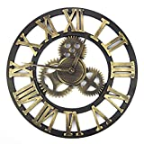 Handmade Oversized 3d Retro Rustic Decorative Luxury Art Big Gear Wooden Vintage Large Wall Clock on the Wall for Gift(Roman numerals gold)
