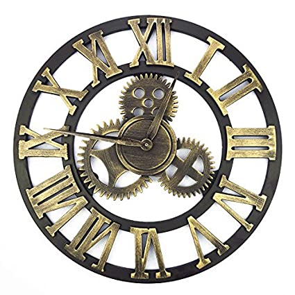 3D Retro Gear Wall Clock Wandklok Wall Clocks Saat Watch Reloj De Pared Large Decoracion Antique