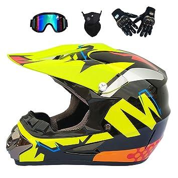 JINWEI Adulto Motocross Casco/Gafas/Máscara/Guantes Moto Casco,M