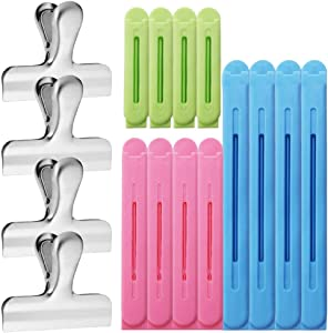 16 Pcs Bag Sealing Clips,YuCool Durable Seal Tool for Food Snack Bag Home Kitchen Use(2.76in,3in,4.33in,6.3in)