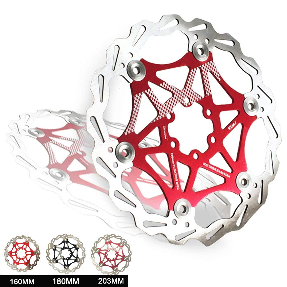 Brake pad Dou Schwimmende Bremsscheibe 6 Schrauben Aluminiumlegierung Fahrrad Bremsscheibe F/ür Die meisten Fahrrad Rennrad Mountainbike BMX MTB 160mm 180mm 203mm Fahrradzubeh/ör im Freien