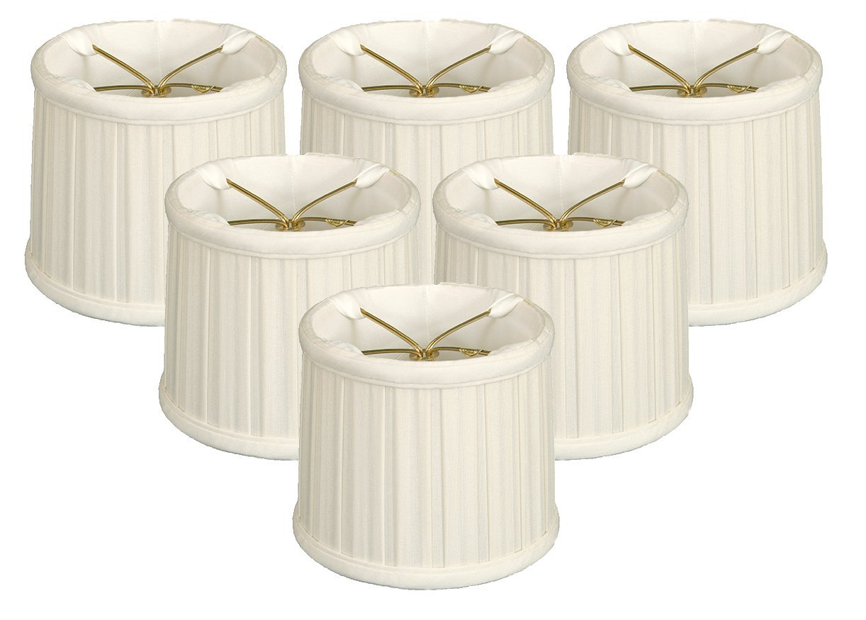 (6 Pack) Royal Designs English Box Pleat Chandelier Shade Size 5, White (CS-209WH-6)