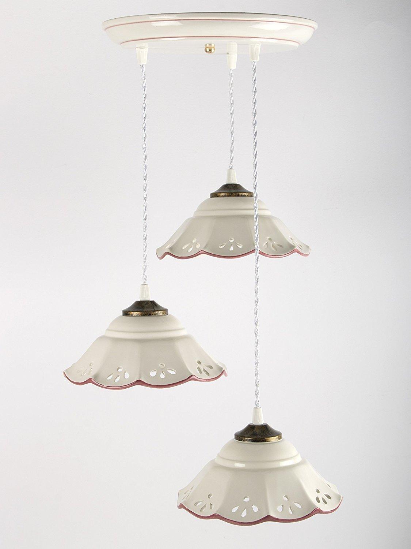 Creazioni Armony, lampadario in ceramica traforato e decorato a mano, 3 luci lunghezza massima 100cm circa, rosso.