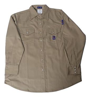 a8b7e777086a Men s KK Fire Retardant Khaki Shirt with Snap Buttons (Small) -FR Shirt