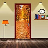 LWCX Autumn Bedroom Door Stickers Stickers Creative Self Adhesive Waterproof Paint Customization