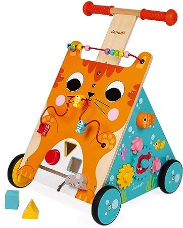 Janod - Caminador multiactividades el gato, caminador evolutivo de madera con freno y manija ajustable, aprender a caminar, desde 1 año (J08005): Amazon.es: Juguetes y juegos