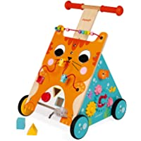 Janod Multi-Activities Adjustable Height Wooden Cat Baby Walker for Learning to Walk – Sit-to-Stand Push Toy with…