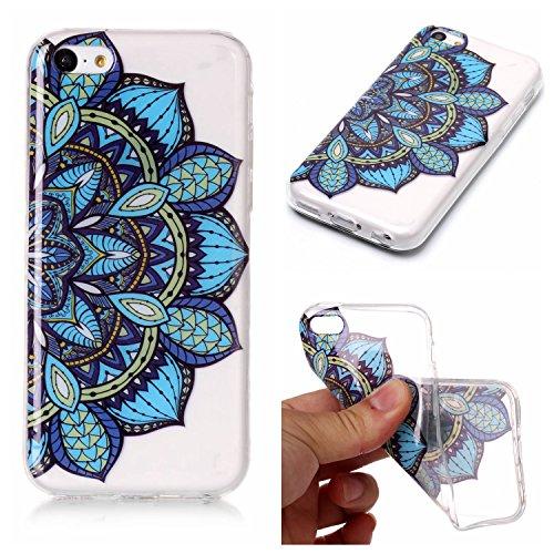iPhone 5C Hülle, Modisch Blaue Mandala Transparent TPU Silikon Schutz Handy Hülle Handytasche HandyHülle Etui Schale Schutzhülle Case Cover für Apple iPhone 5C