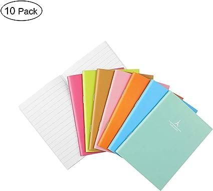 10 pcs Colores surtidos Cuadernos,A6 Cuaderno con cubiertas duras, Viaje Libreta Hojas, School Recambio para cuaderno, Cuaderno de Tapa Blanda, color multicolor cuaderno, Bloc de Notas Espiral A6: Amazon.es: Oficina y papelería
