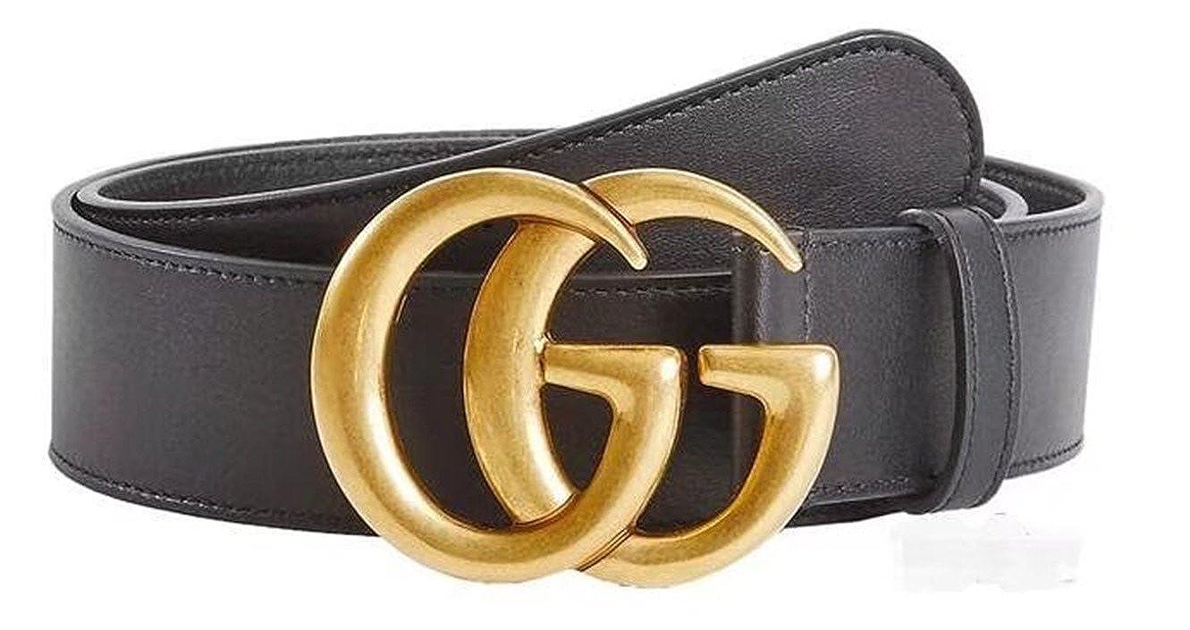nouveau produit eb3ff 19fec Original authentique boutique de mode double GG or boucle hommes et femmes  ceinture