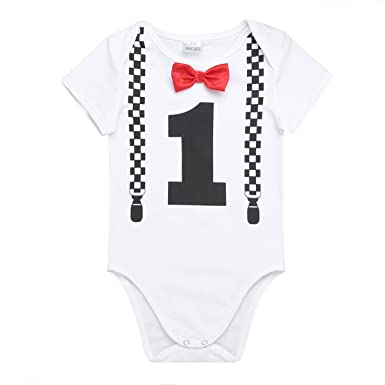 e9b052c32e6c Amazon.com  Freebily Baby Boys First 1st Birthday Romper Jumpsuit ...