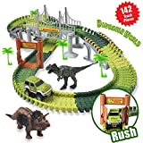 ACTRINIC Slot Car Race Sets Toys Jurassic World with 142 Pieces Flexible Tracks 2 Dinosaurs,1 Military Vehicles,4 Trees,2 Slopes,1 Double-Door and 1 Hanging Bridge for Children's Gift