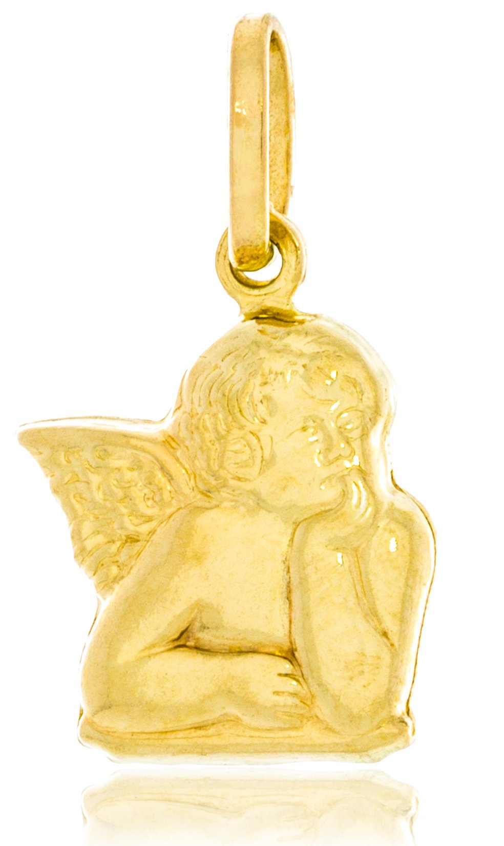 Solid Gold Angel Charm of Raphael Angel Cherub (Hollow) 14K Yellow Gold 15.1mm Tall by 12.7mm Wide | 1.2g