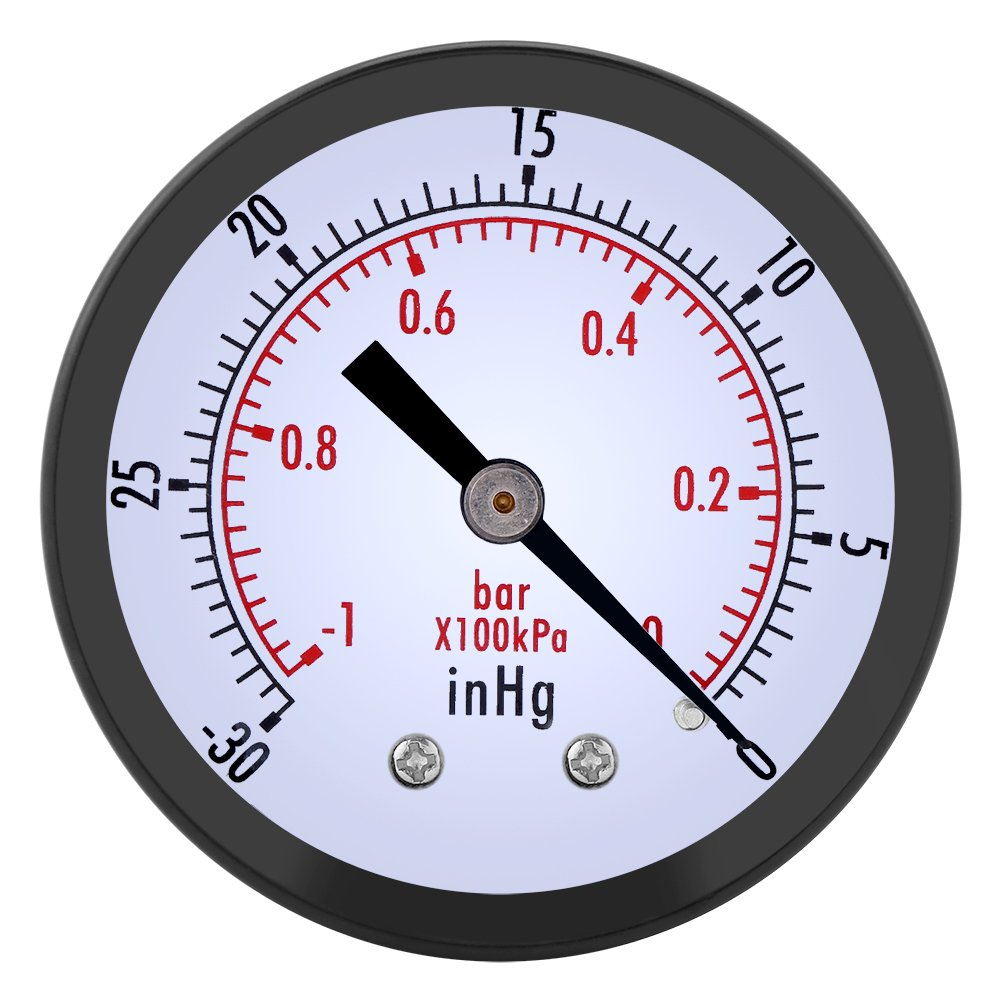 0~-30inHg 0~-1bar Vacuum Pressure Gauge 50mm Dial Pressure Meter Manometer for Air Water Gas Oil Hilitand