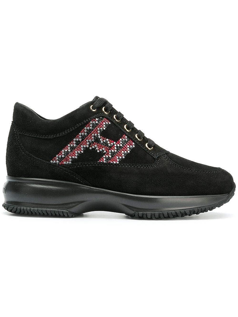 - Hogan Women's HXW00N0AL10CR0B999 Black Suede Sneakers