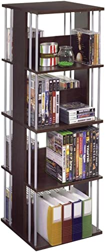 Atlantic Typhoon Media Spinner Unit – Fully Rotates 360 Degrees on a Ball Bearing Base, Holds 216 CDs, 144 DVDs, 4 Fixed Shelves, PN82635716 in Espresso Renewed
