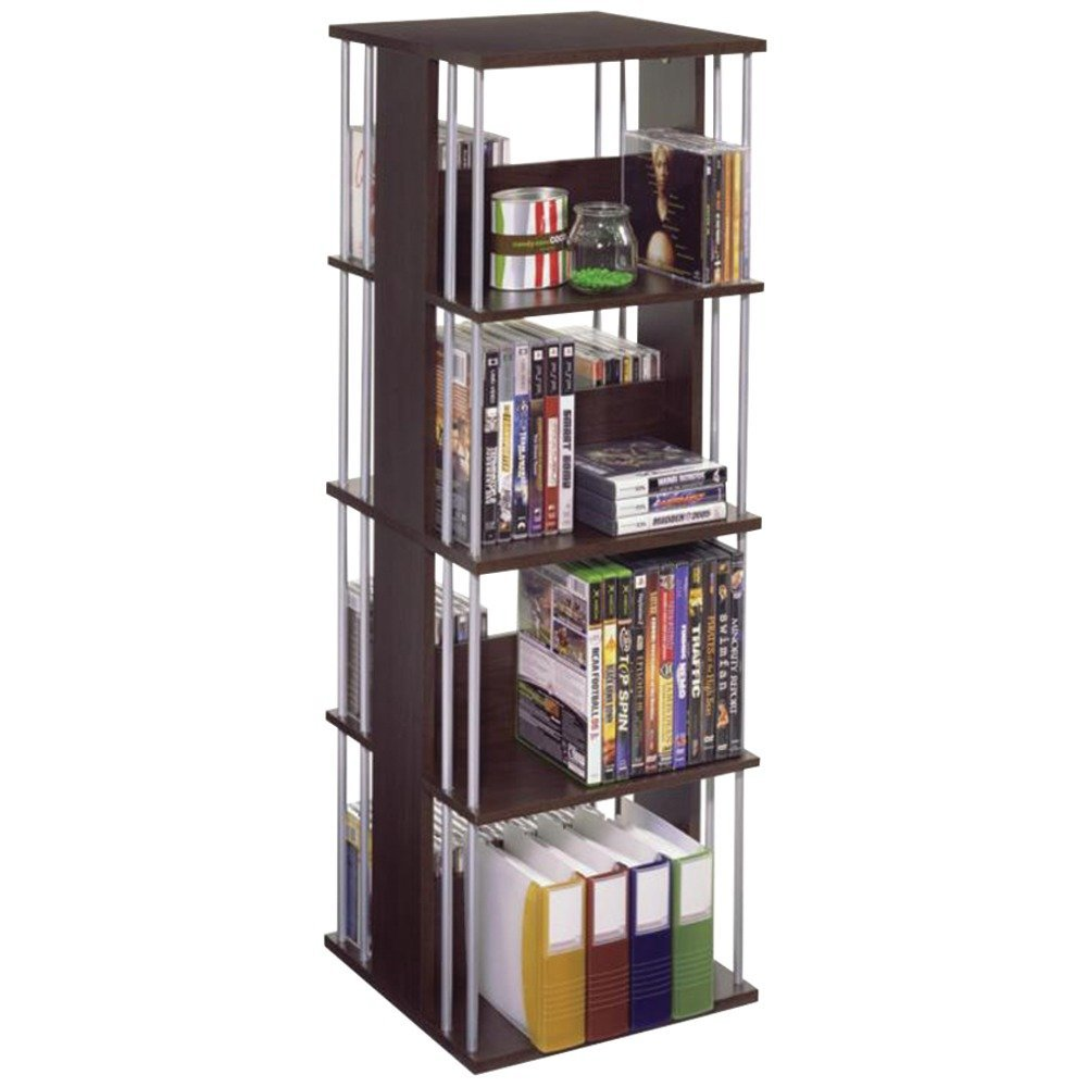 Atlantic Typhoon Media Spinner Unit - Fully Rotates 360 Degrees on a Ball Bearing Base, Holds 216 CDs, 144 DVDs, 4 Fixed Shelves, PN82635716 in Espresso (Renewed) by Atlantic