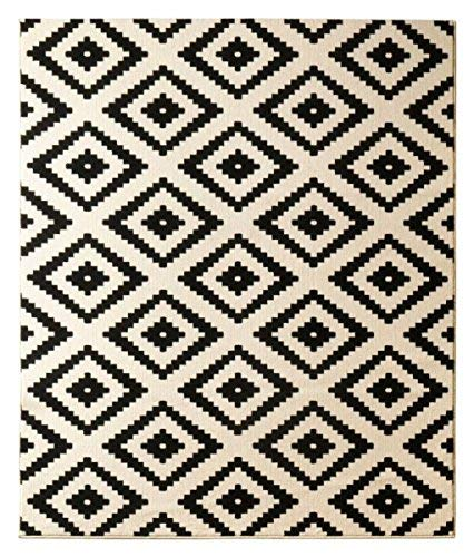 HANSE HANSE HANSE Home Designer Velours Raute Schwarz Creme Teppich Läufer Bettumrandung Brücke Polypropylen 120 x 170 x 0.9 cm B015I7OESS Teppiche & Lufer f045b7