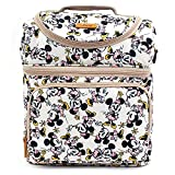 Disney Mickey Minnie Mouse Dancing Pattern Cooler Crossbody Bag Lunch Tote Bag with Front Pocket, Upper Pockets, Adjustable Shoulder Strap, Handle Strap (Ivory) Review