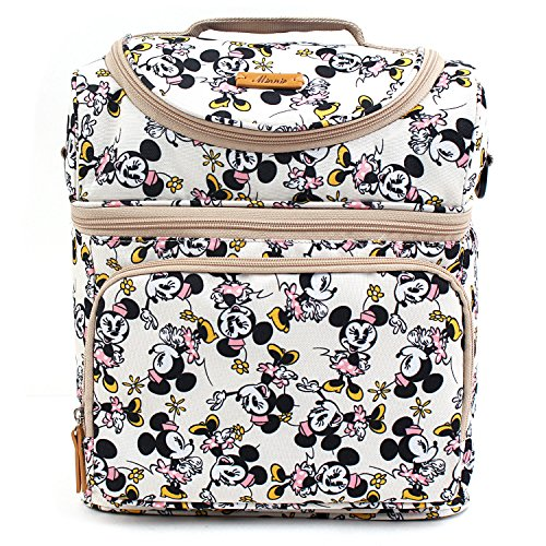 Disney Mickey Minnie Mouse Dancing Pattern Cooler Crossbody Bag Lunch Tote Bag with Front Pocket, Upper Pockets, Adjustable Shoulder Strap, Handle Strap (Disney Tote Bag)