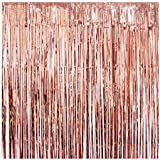 UTOPP 2 Pack Rose Gold Foil Fringe Curtains Photo Backdrop, 3ft x 8 ft Shiny Metallic Tinsel Party Door Curtain Photo Booth Props for Birthday Wedding Bachelorette Christmas Party Decorations