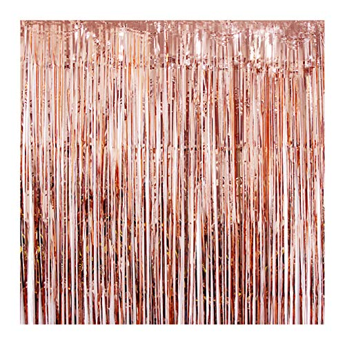 UTOPP 2 Pack Rose Gold Foil Fringe Curtains Photo Backdrop Party Decorations, 3ft x 8 ft Shiny Metallic Tinsel Party Door Curtain Photo Booth Props for Birthday Wedding Party Decor -