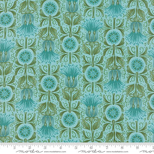 Chrysanthemum Quilt Fabric - United Notions and Moda Fabrics Dear Mum by Robin Pickens Quilt Fabric Busy Flower Robin's Egg Style 48621/19