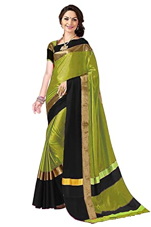 ba3c989dcb Dheylu Creation Women's Black-Green Printed Cotton Silk Saree with Blouse  Piece: Amazon.in: Clothing & Accessories