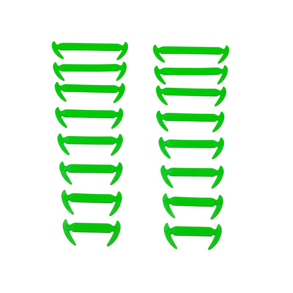 16Pcs/Lot Elastic Silicone Shoelaces For Shoes Special Shoelace No Tie Shoe Laces Green