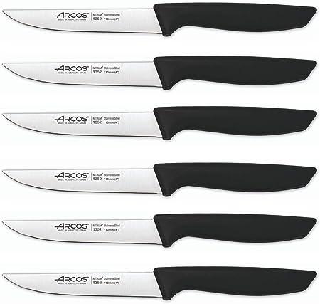 Arcos 136500 Series Niza-Set - Cuchillo para verduras (acero inoxidable de nitrum, 110 mm, mango de polipropileno, color negro, y plástico)
