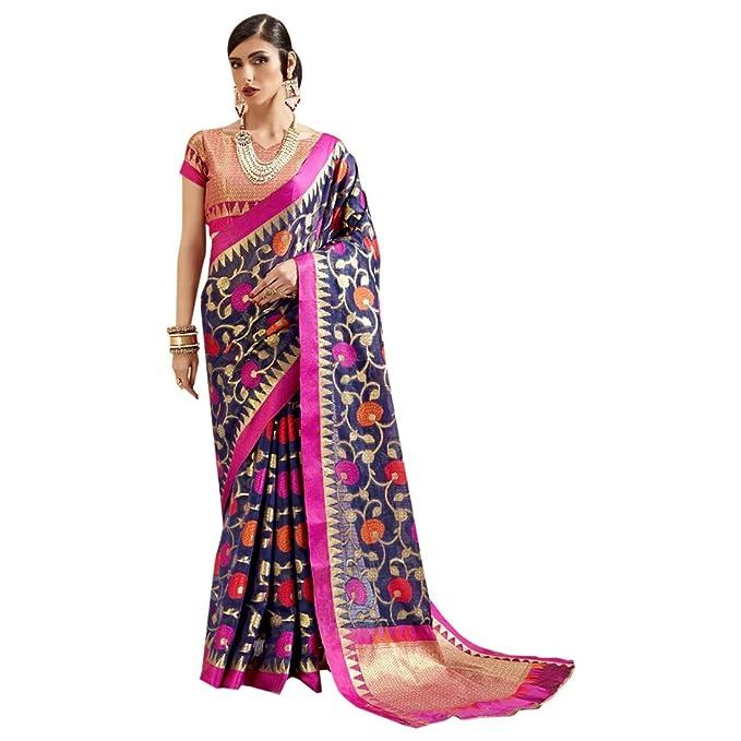 buy popular 30663 3e97c Seta Indiana di Seta Pura Designer Saree Ethnic Sari Heavy ...
