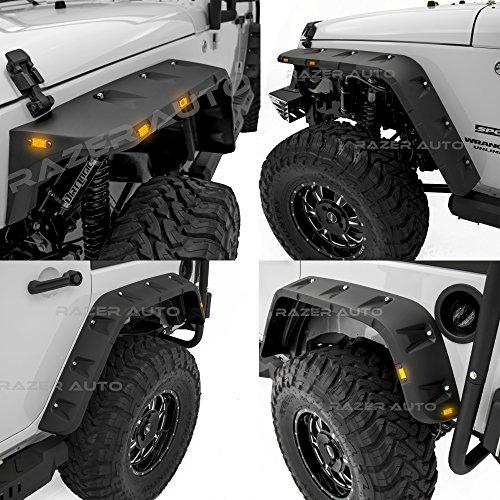 Razer Auto Rock Crawler Stubby Smooth Black Finished Pocket Style+Rivet Front+Rear 4pcs Fender Flares w/ 10x LED Light Side Maker (Smooth Black) for 07-17 Jeep Wrangler JK