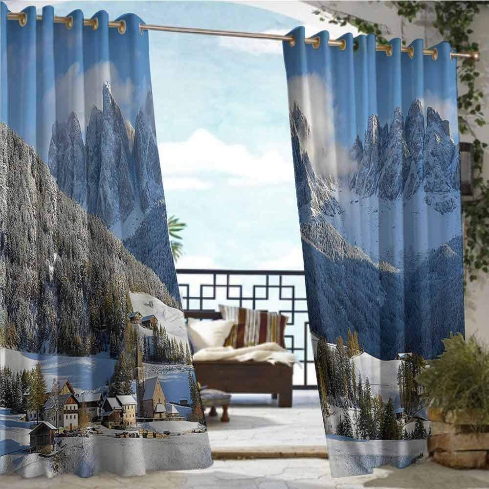 Outdoor Blackout Curtains Apartment Decor Collection,Mountain Village Scenery in Winter with Snow Peaks Northern Zone Spot Alps Photo,White Blue Green,W84 xL108 Outdoor Privacy Porch Curtains by Andrea Sam