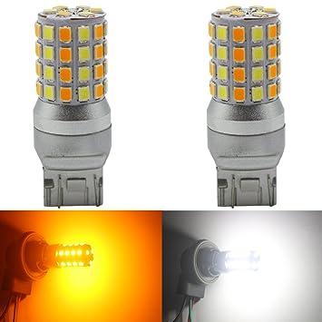 Paquete de 2-7441 7440 7443 7444 992 Bombilla LED de Conmutación Blanca /ámbar