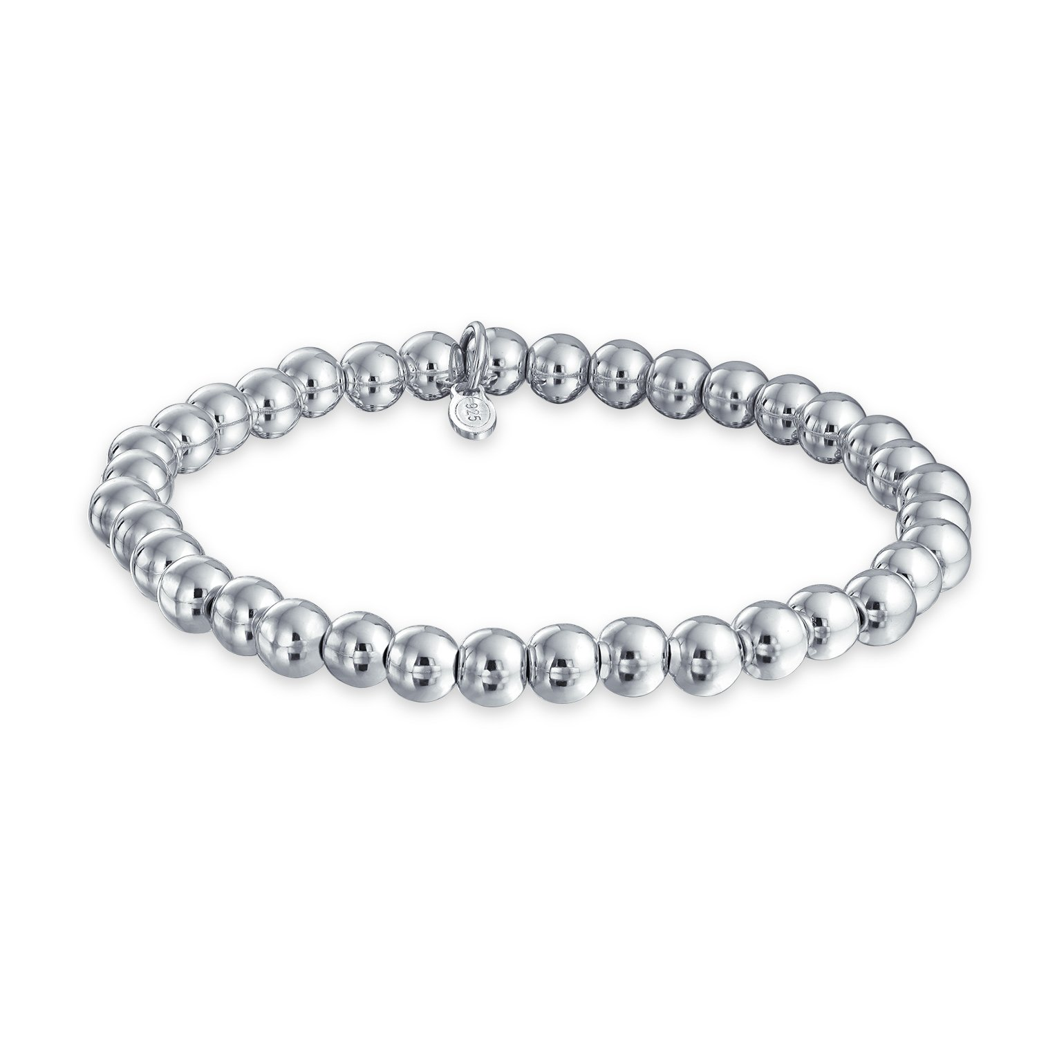 Sterling Silver 6mm Bead Stretch Bracelet Stackable 7.5 Inch