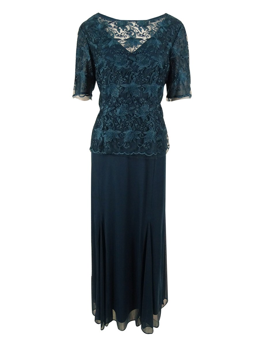 Alex Evenings Women's Plus-Size Long Mock 2 Piece with 3/4 Illusion Sleeve, Deep Teal, 14W