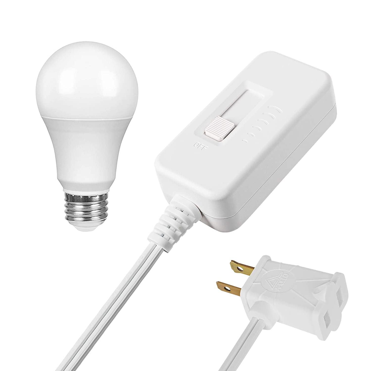 DEWENWILS Table Top Inline Dimmer Switch and Warm White Dimmable LED Light Bulb Set for Lamp, Full Range Slide Control, 6.6 ft Extension Cord, UL Listed, White