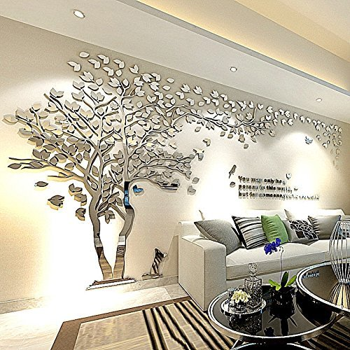 Tree Birds 3D Wall Decals Mirror Wall Stickers Tattoos Wall Decor 79inch Tall (Large 3.5x2.1, Silver) by Sisselyan (Image #5)