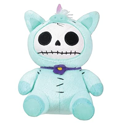 SUMMIT COLLECTION Furrybones Teal Unicorn Unie Wearing Purple Daisy Collar Small Plush Doll: Home & Kitchen