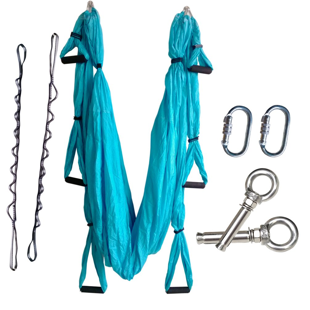 Wellsem Complete Set Flying Aerial Yoga Hammock Yoga Inversion Sling Trapeze for Body Building Workout Fitness with Daisy Chain&carabiners (5 Colors Choice) (Sky blue)