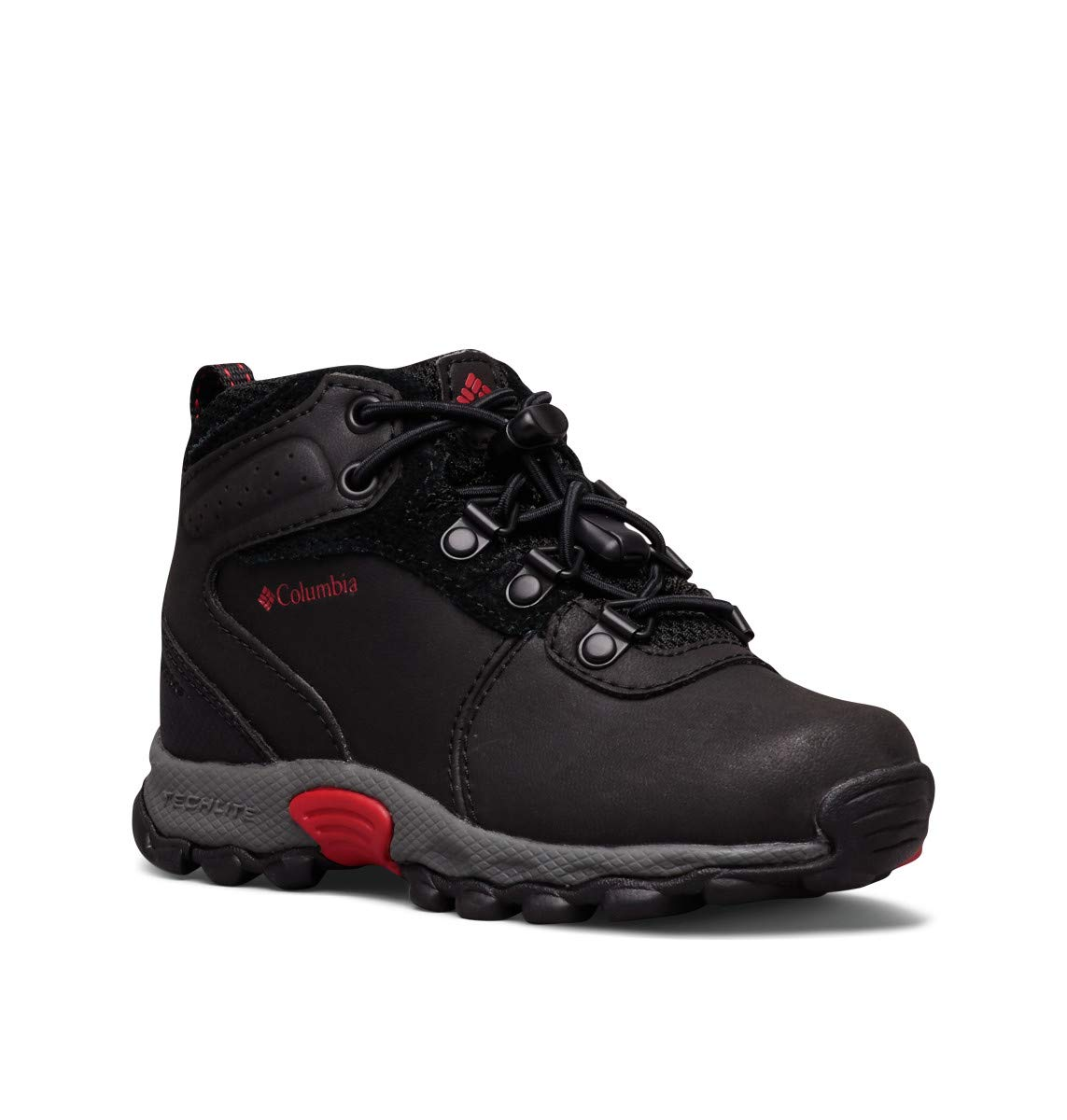 Columbia Unisex-Kid's Youth Newton Ridge Hiking Shoe, Black/Mountain Red, 3