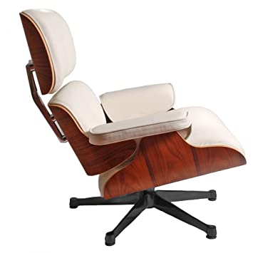 Eames Lounge Chair And Ottoman Style In Cream   Palisander Wood