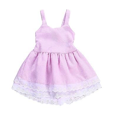 3810795ded60 Amazon.com  Toddler Infant Baby Girls Dress Kid Girl Striped Bowknot ...
