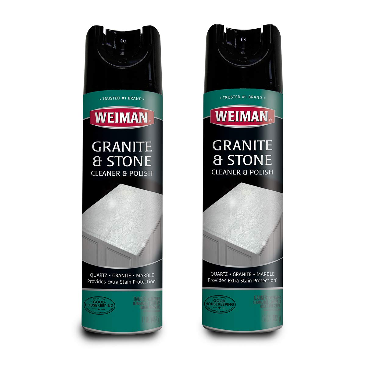 Weiman Granite Cleaner and Polish Aerosol 17 Ounce - 2 Pack - for Granite Marble Soapstone Quartz Quartzite Slate Limestone Corian Laminate Tile Countertop by Weiman
