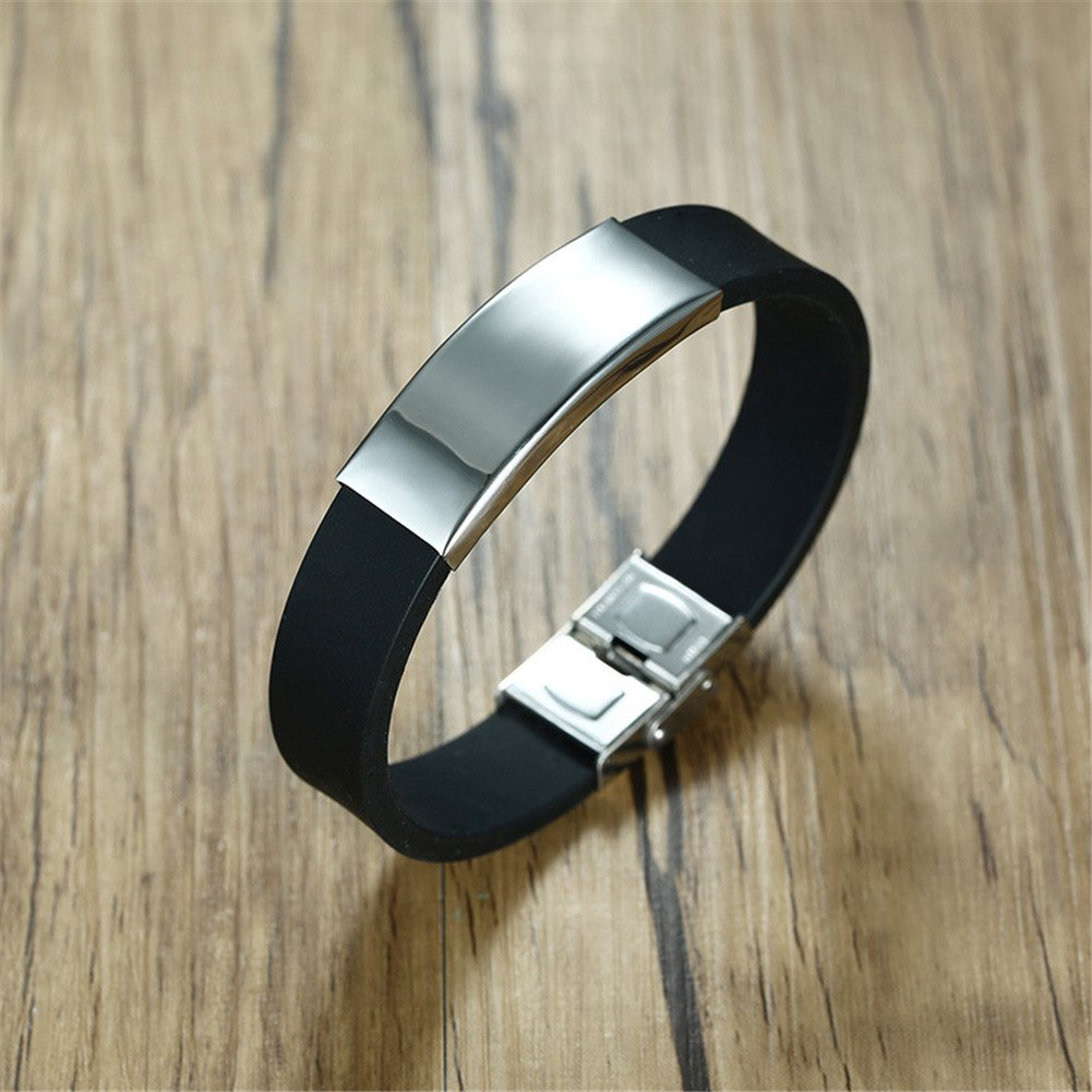Sunling Personalized Survive This Psychopath Engraved Stainless Steel Promise Quote Silicone Bracelet Bangle Wristband for Her,Him,Wife,Husband,Funny Birthday, Free Engraving by Sunling (Image #3)